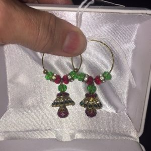 Gold hoop Christmas earrings. Red & green